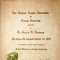 Image of Russell Conwell Award Certificate