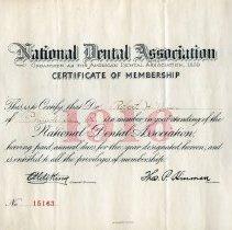 Image of National Dental Association Membership Certificate - 1916