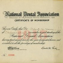 Image of National Dental Association Membership Certificate - 1915