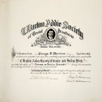 Image of C. Barton Addie Society Certificate
