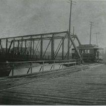 "Image of Delaware, Ohio streetcar ""dinky"" crossing Winter Street bridge -"