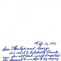Image of Thank you letter from Bob and Mary Holin to George and Marilyn Cryder  February 10, 1971 -