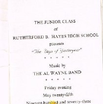 Image of Program from 1973 Hayes Junior Senior Prom