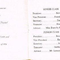 Image of Hayes Junior Senior Prom Program 1973 p. 2-3