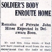 Image of Newspaper article on Private John Hines