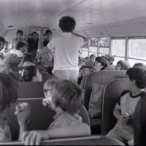 Image of Bus of children outside Brown School