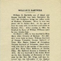 Image of Funeral card for William D. Sartwell