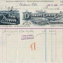 Image of Delaware Chair Company Invoice, Feb. 21, 1890
