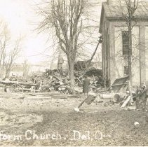 Image of Zion Reformed Church after the Flood of March 1913 in Delaware  - Mar 1913