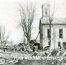 Image of 1913 Flood Wreckage at Reformed Church - East William Street - Delaware - Mar 1913