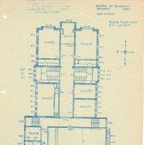 Image of Delaware High School in 1910 -- Drawing of Second Floor