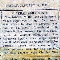 Image of John Hines Funeral