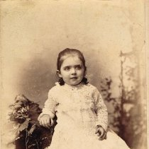 Image of Young girl in lace dress posing for photograph - 1884