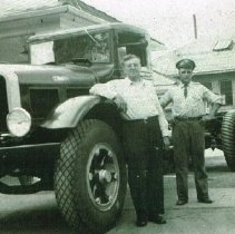 Image of Bill Lugger and Vernia Newell, owner of Newell's Pure Oil Station - Spring 1952
