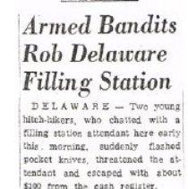 Image of Armed bandits rob Delaware Filling Station -
