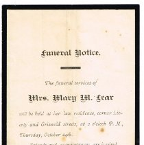 Image of Funeral Notice Mary M. Lear 1889 -
