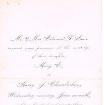 Image of Wedding invitation, Lear/Chamberlain wedding -