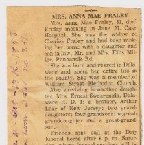 Image of Obituary Anna Mae Fraley (Lear) 1958