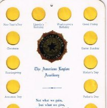 Image of The American Legion Auxillary Coin Card