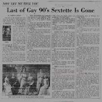 Image of Last of Gay 90's Sextette Is Gone newspaper article