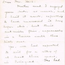 Image of Letter to Mrs. E.M. Hall from Mrs Ethel Page page 1