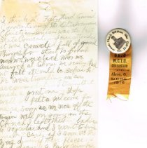 Image of Mrs White's handwritten notes from WCTU convention p 1