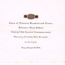 Image of 1911 DHS Commencement Invitation