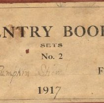 Image of Label on cover of the 1917 Entry Book for Pumpkin Show in Delaware, Ohio