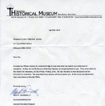 Image of Transmittal letter from Hancock Historical Museum to the DCHS -