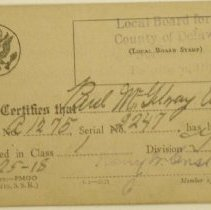 Image of Draft Card, Front