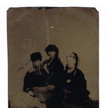 Image of A tintype portrait of three women