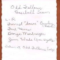 Image of Back of Odd Fellow Baseball Team