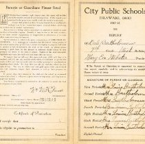 Image of 7th Grade Report Card (1917 -1918) - Exterior