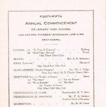 Image of Delaware High School Commencement Program 1921