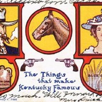 "Image of ""The Things that make Kentucky Famous"" postcard"