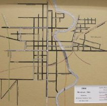 Image of 1908 route map of railroads, inter urbans, and street cars in Delaware Oh.   -