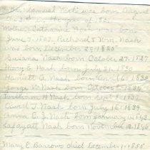 Image of Nash Geneology Note