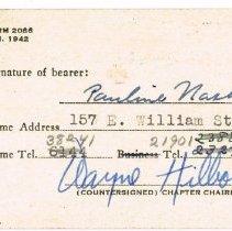 Image of Pauline Nash's Red Cross Membership Card, back