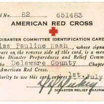 Image of American Red Cross Disaster Committee Identification Card for Pauline Nash.  -