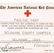 Image of Pauline Nash's Red Cross Membership Card