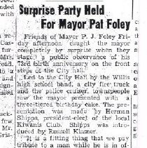 Image of Delaware Gazette article 4 Nov 1944: Surprise Party Held for Mayor Pat Foley -