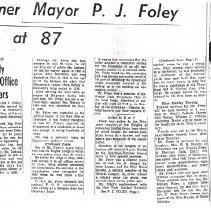 Image of Gazette report of Pat Foley's death/life