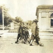 Image of June 1919 WWI soldiers parade near Sandusky Street Post Office