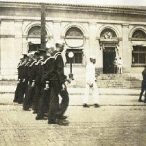 Image of June 1919 WWI soldiers parade near Post Office on Sandusky Street
