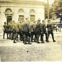 Image of June 1919 WWI soldiers parade near Spring Street and Sandusky Street