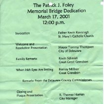 Image of Foley Bridge Dedication program