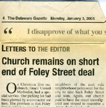 Image of 3 Jan 2005 Letter to Delaware Gazette