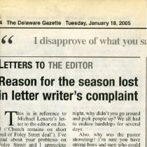 Image of 18 Jan 2005 Letter to Delaware Gazette
