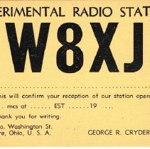 Image of Post card of Experimental Radio Station W8XJ