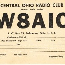 Image of Post card from Radio W8AIC, George Cryder